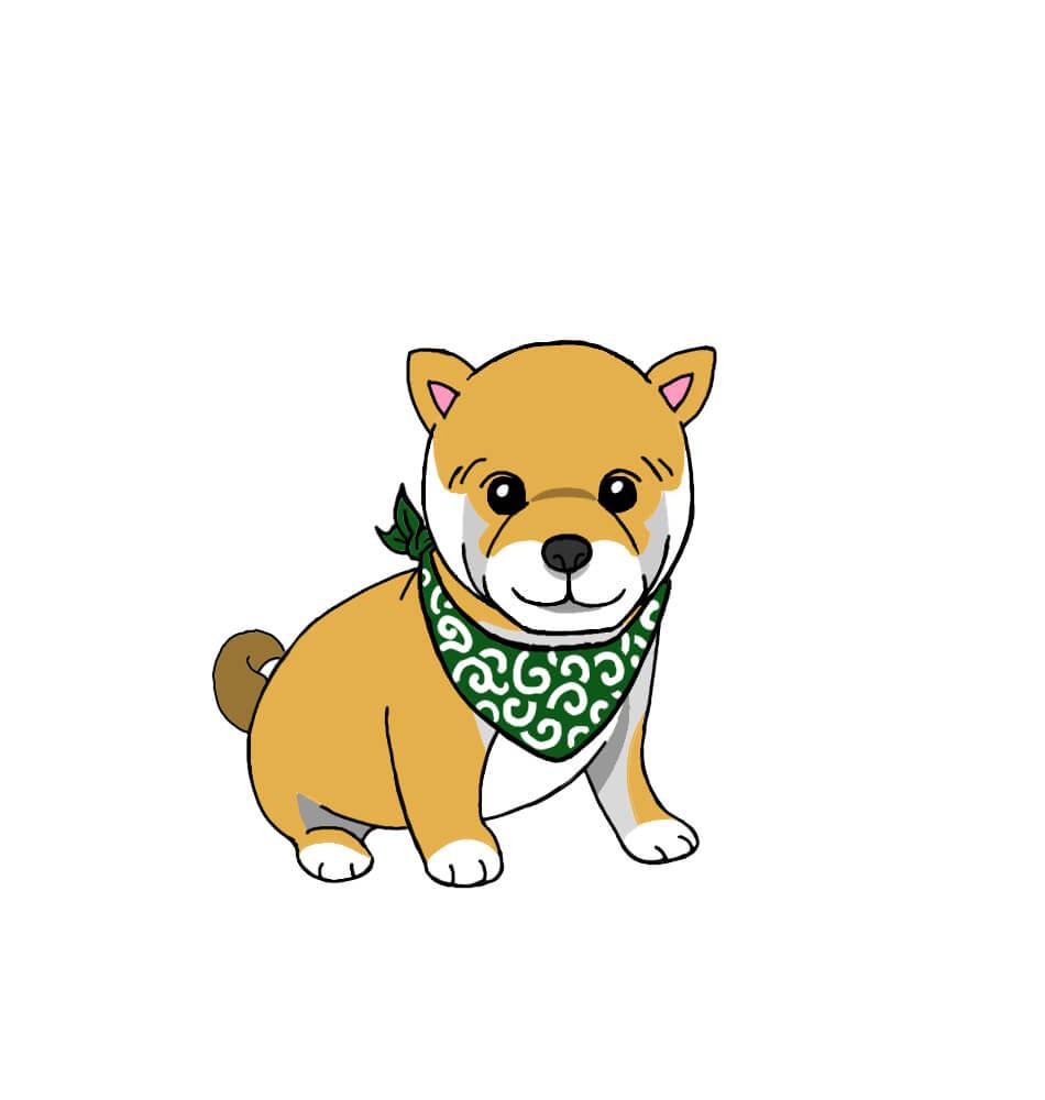 スカーフを巻いた柴犬の無料手書きイラスト