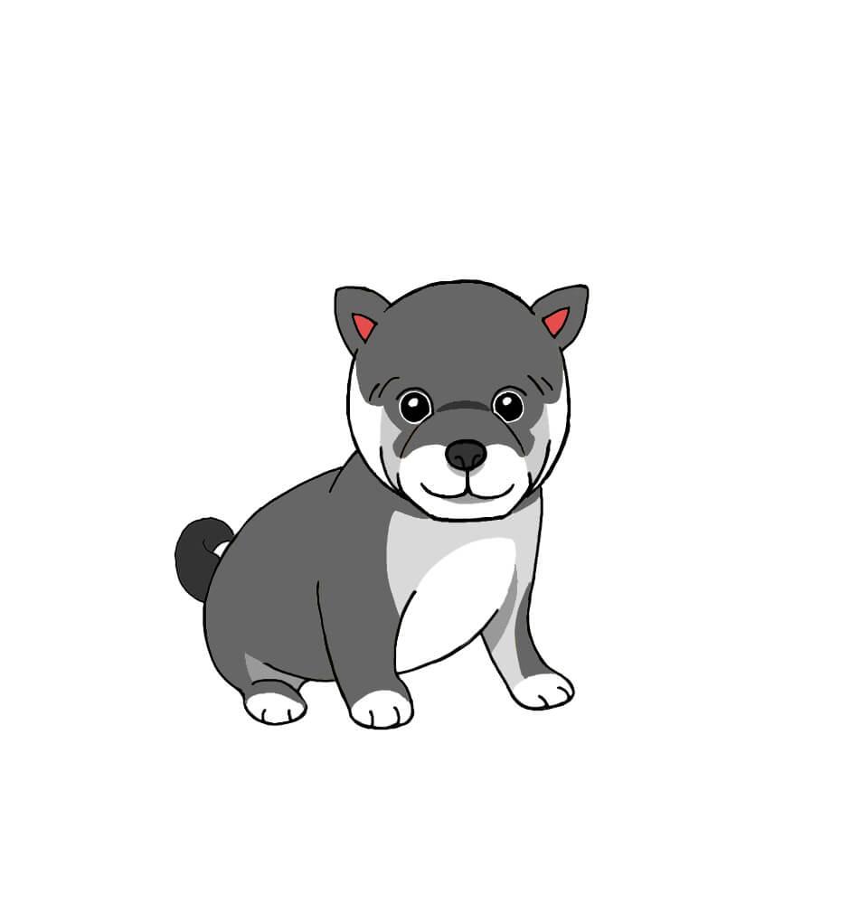 黒い柴犬の無料手書きイラスト