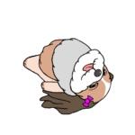 仰向けで寝ているシーズーのイラスト