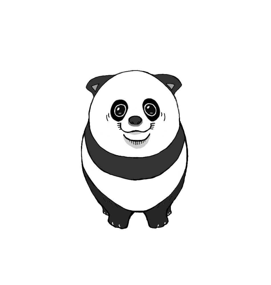 パンダ柄のポメラニアンの無料手書きイラスト