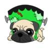 ハロウィンのフランケンシュタインの衣装を着ているフレンチブル(犬)