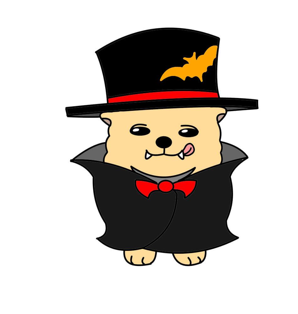 ハロウィンのドラキュラの衣装を着ているポメラニアン(犬)