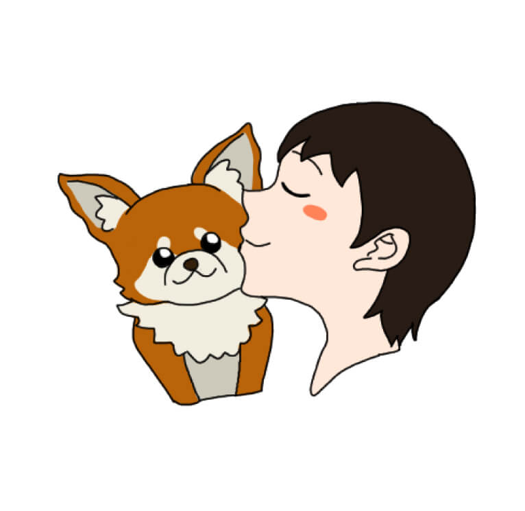 ペットとキスするイラスト