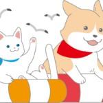 浮き輪でうかぶ犬と猫のイラスト