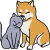 【手書き風】仲良しの犬と猫のイラスト