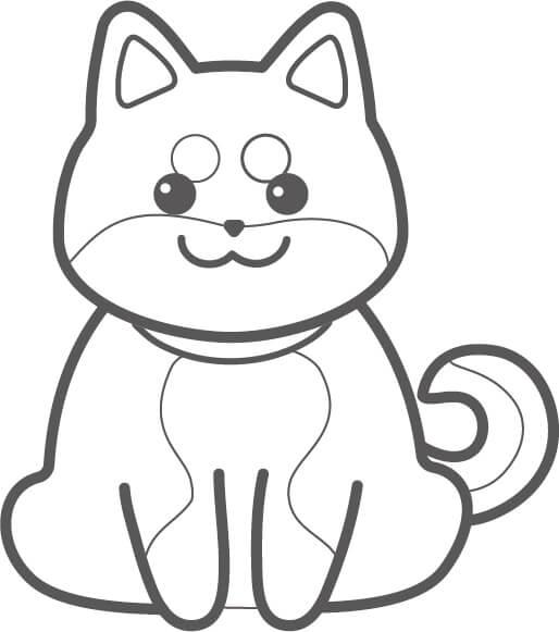 柴犬のぬり絵イラスト