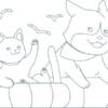 海で浮かぶ犬と猫のぬり絵イラスト