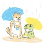 犬とカエルが傘をさしているイラスト