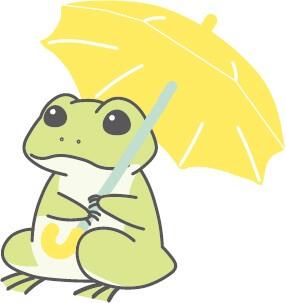 雨の中、傘をさすカエルのイラスト