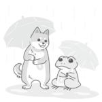 犬とカエルが傘をさしている白黒のイラスト