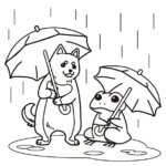 ペットのぬり絵。傘をさす犬とカエル