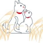 お月見をする犬と猫のイラスト