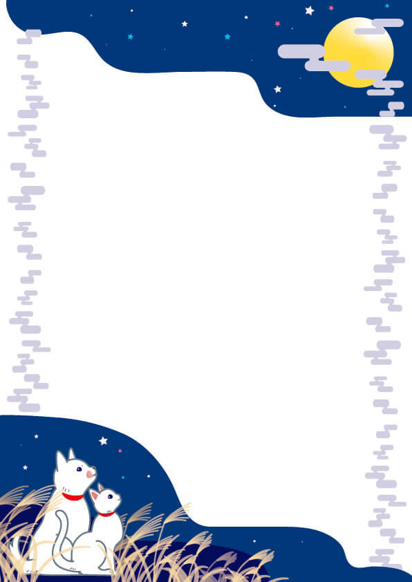 お月見をイメージしたフレームイラスト