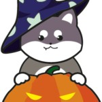 ハロウィン(柴犬とかぼちゃ)のイラスト