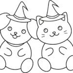 ハロウィン犬猫のぬり絵イラスト
