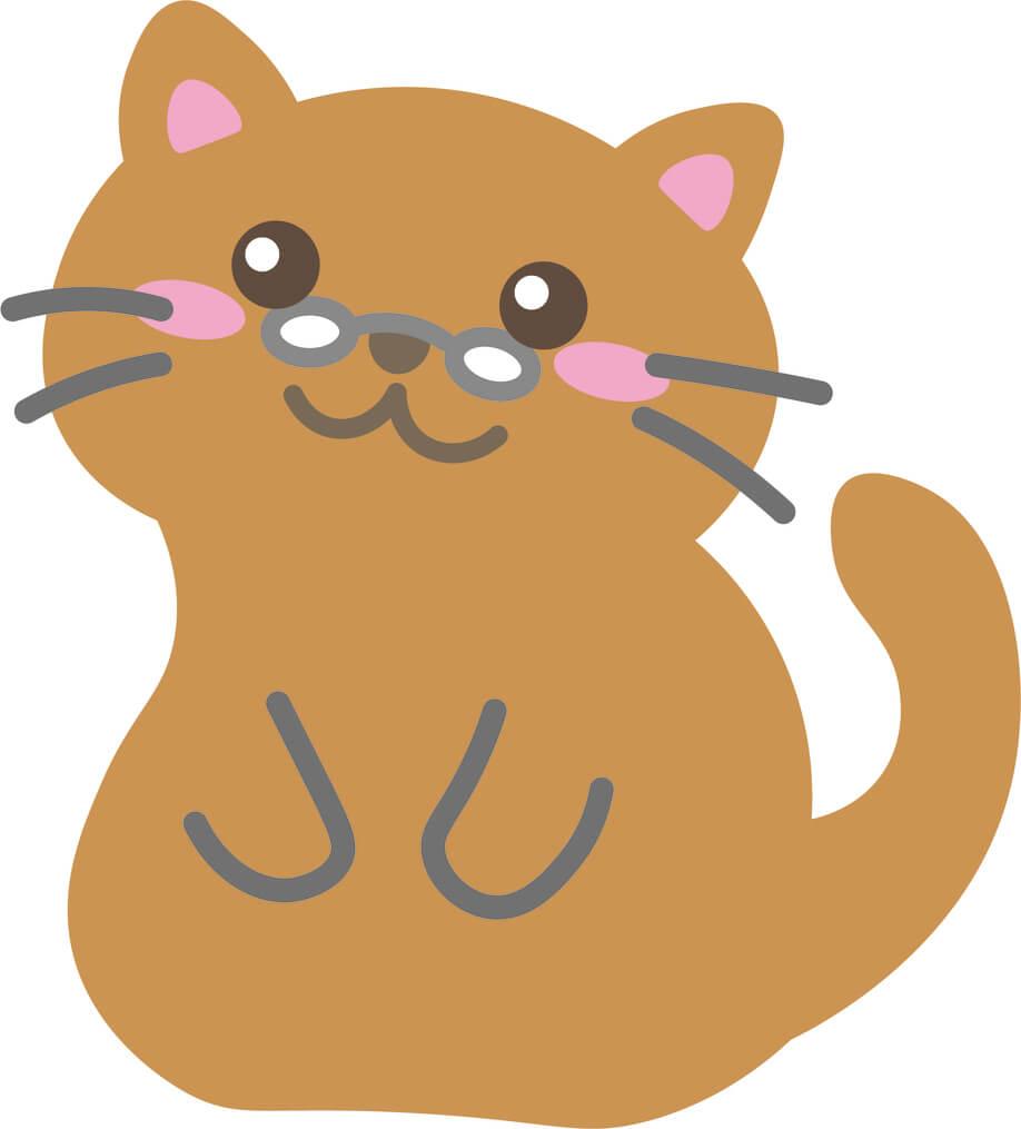 老猫(茶)のイラスト