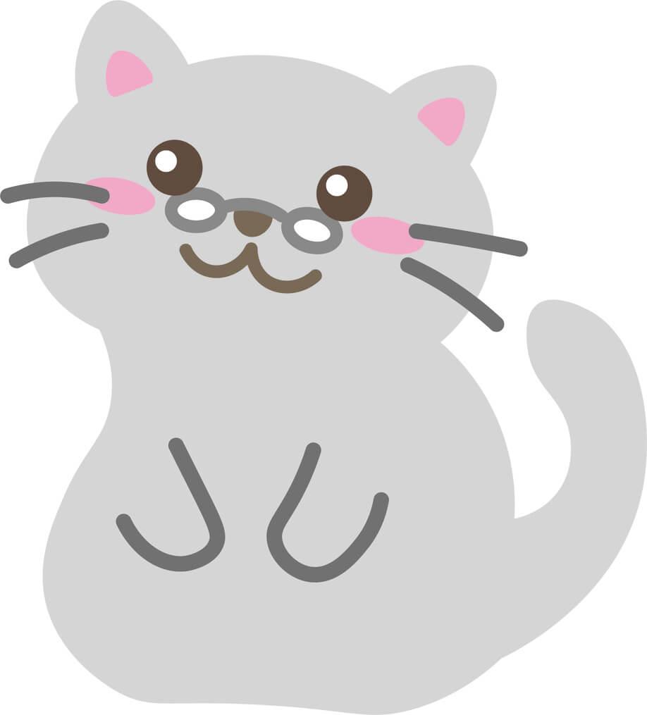 老猫(グレー)のイラスト