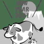 【2021年丑年】年賀状デザインのイラスト