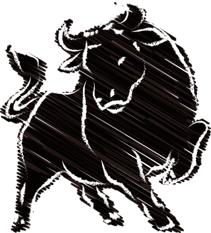 【2021年丑年】毛筆っぽい牛のイラスト