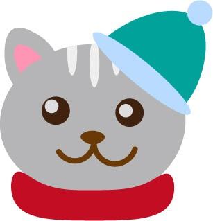 クリスマスモチーフの猫無料イラスト