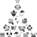 クリスマスモチーフの犬猫無料イラスト