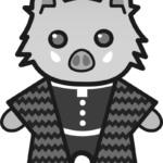 【鬼滅の刃風】伊之助*猪(白黒)【無料】