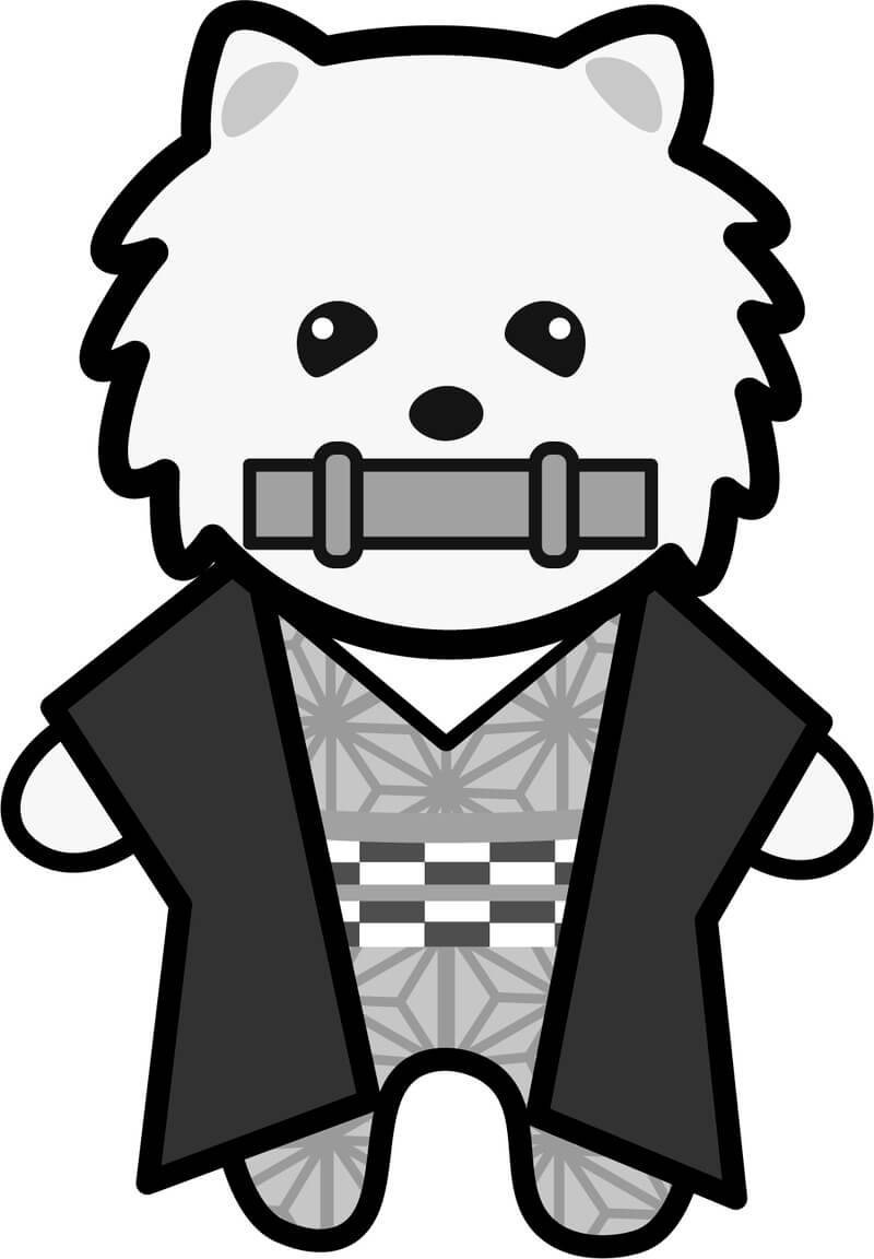 【鬼滅の刃風】禰豆子*ポメラニアン(白黒)【無料】