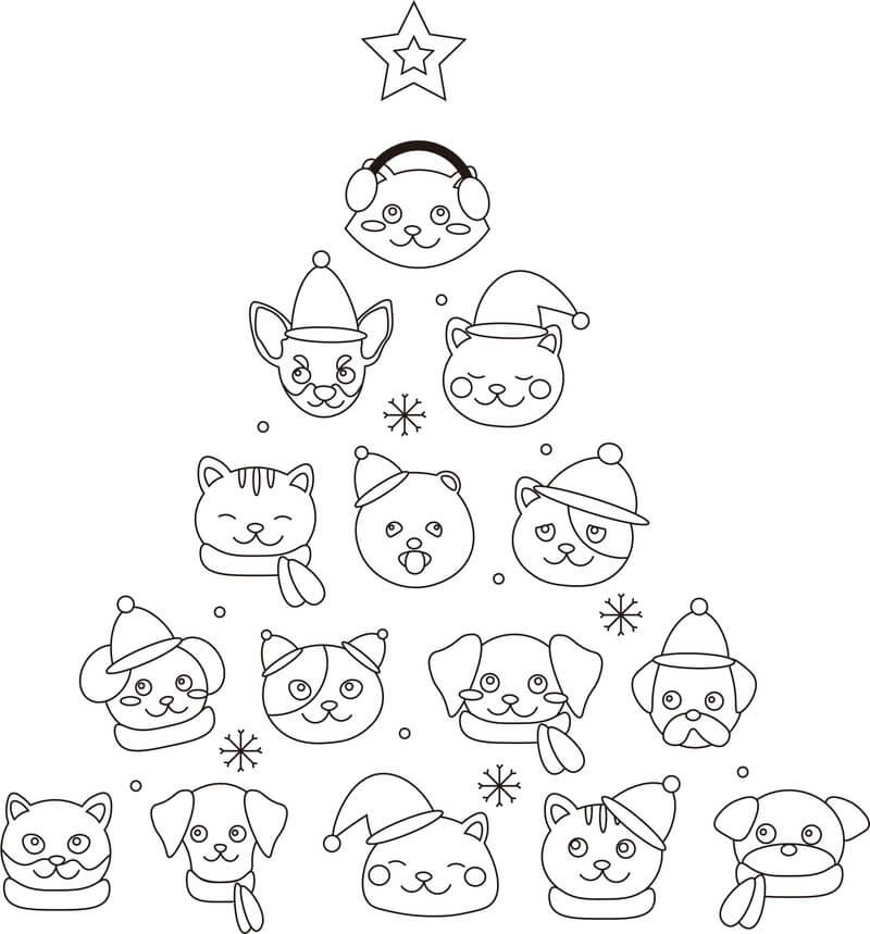 クリスマス犬猫のぬり絵