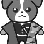 【鬼滅の刃風】冨岡義勇っぽい*ジャックラッセルテリア(白黒)のイラスト【無料】