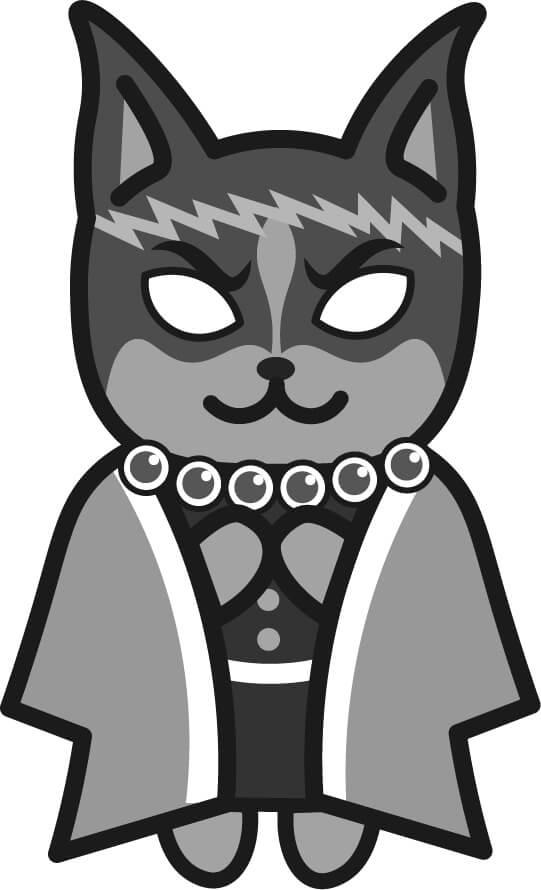 【鬼滅の刃風】悲鳴嶼行冥っぽい*ドーベルマン(白黒)のイラスト【無料】