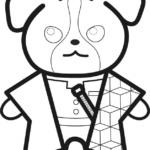 【鬼滅の刃風】冨岡義勇っぽいジャックラッセルテリアイラストのぬり絵【無料】