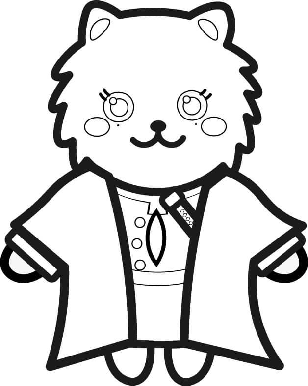 【鬼滅の刃風】甘露寺蜜璃っぽい*ポメラニアンイラストのぬり絵【無料】