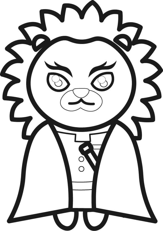 【鬼滅の刃風】煉獄杏寿郎っぽいライオンイラストのぬり絵【無料】