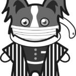 【鬼滅の刃風】伊黒小芭内っぽい*パピヨン(白黒)のイラスト【無料】