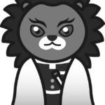 【鬼滅の刃風】煉獄杏寿郎っぽい*ライオン(白黒)のイラスト【無料】
