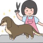トリミング中の犬のイラスト