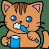 歯みがきをしている猫(茶色)イラスト