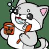 歯みがきをしている犬(白色)のイラスト【無料】