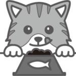 食事をしている猫(白黒)イラスト