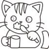 歯みがきをしている猫のぬり絵