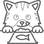 食事をしている猫のぬり絵