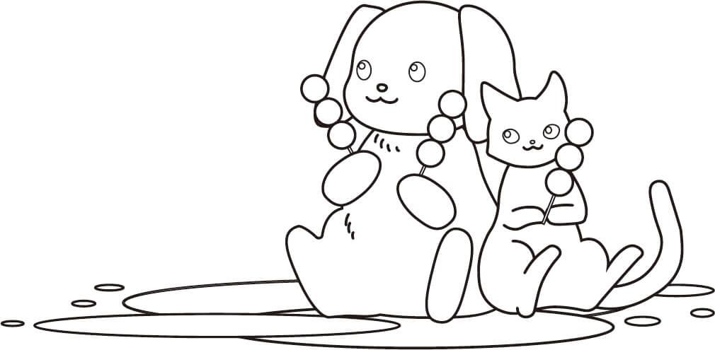お花見(犬猫)のぬり絵