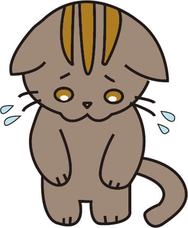 あやまっている猫(こげ茶)