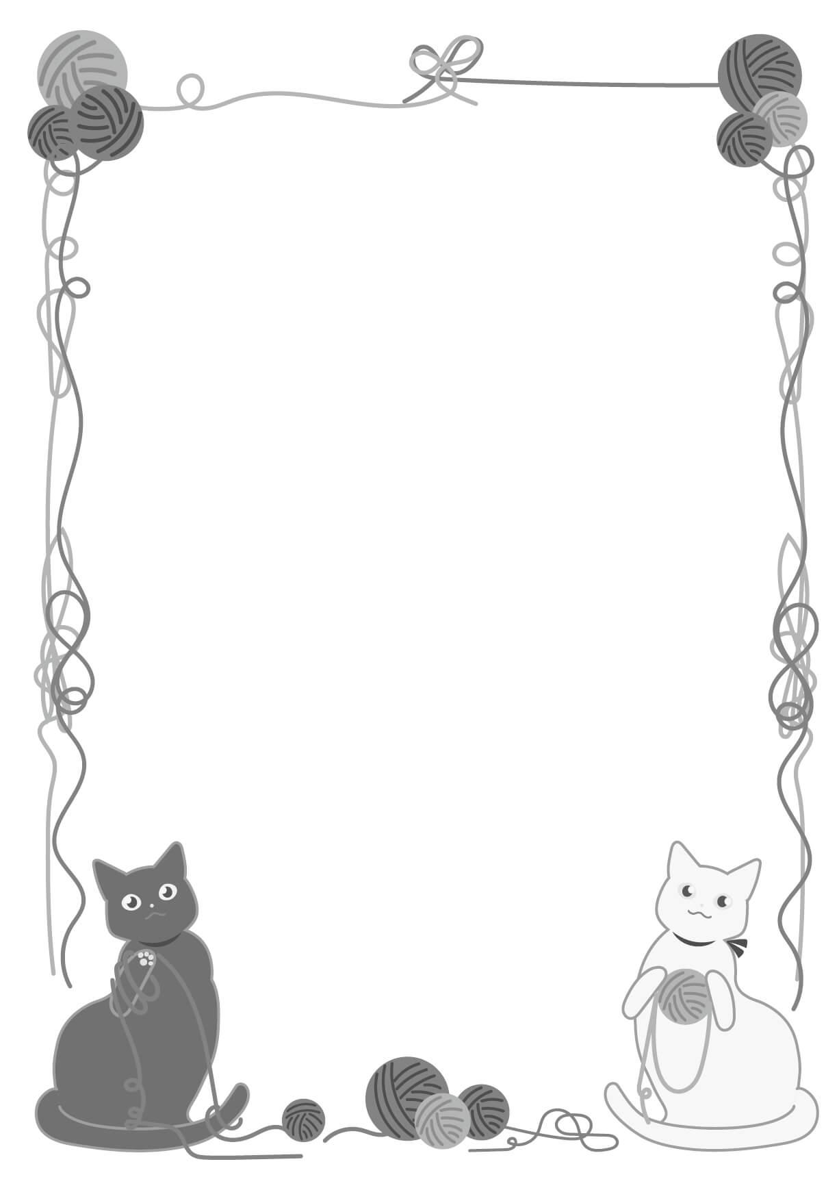 猫のフレームイラスト(白黒)