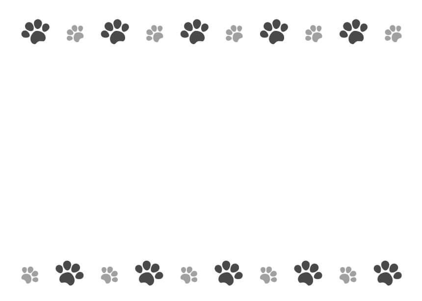 犬猫の肉球(足あと)黒色のフレームイラスト