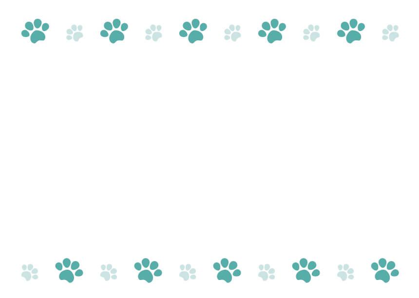 犬猫の肉球(足あと)緑のフレームイラスト