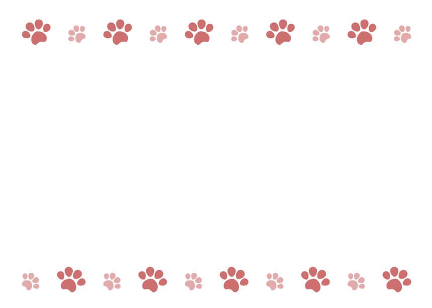 犬猫の肉球(足あと)ピンクのフレームイラスト