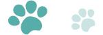 犬猫の肉球(足あと)緑のラインイラスト