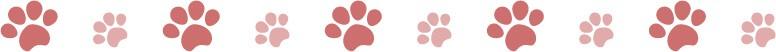 犬猫の肉球(足あと)ピンクのラインイラスト