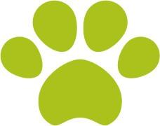 犬猫の肉球(足あと)黄緑